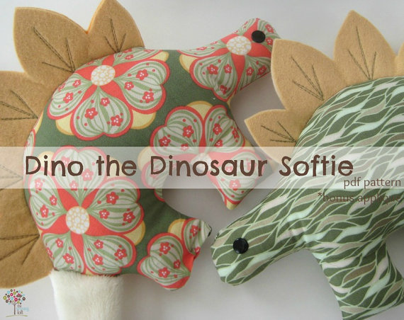 Dino the Dinosaur Softie by The Sewing Loft