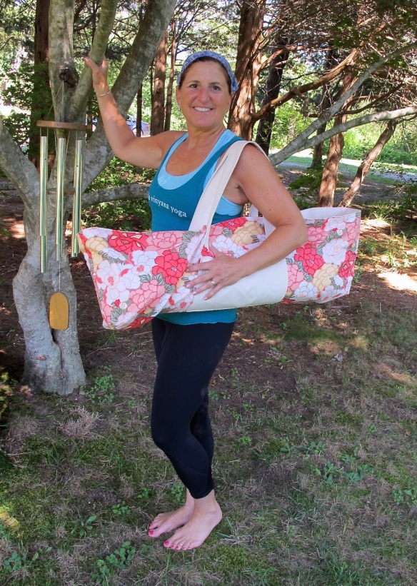 Jane and her new yoga bag made by Sewn With Style using Tokyo Rococo