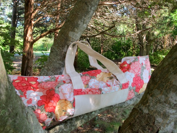 Jane's new yoga bag made by Sewn With Style using Tokyo Rococo