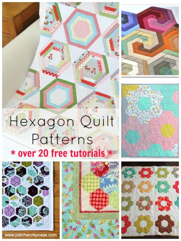 Hexagon Quilt Patterns and free tutorials by Patchwork Posse