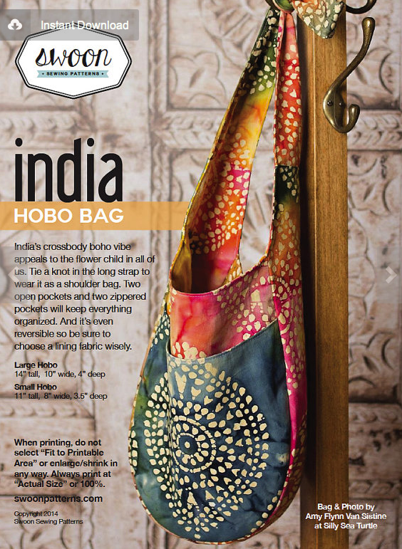 India Hobo Bag by Swoon Sewing Patterns
