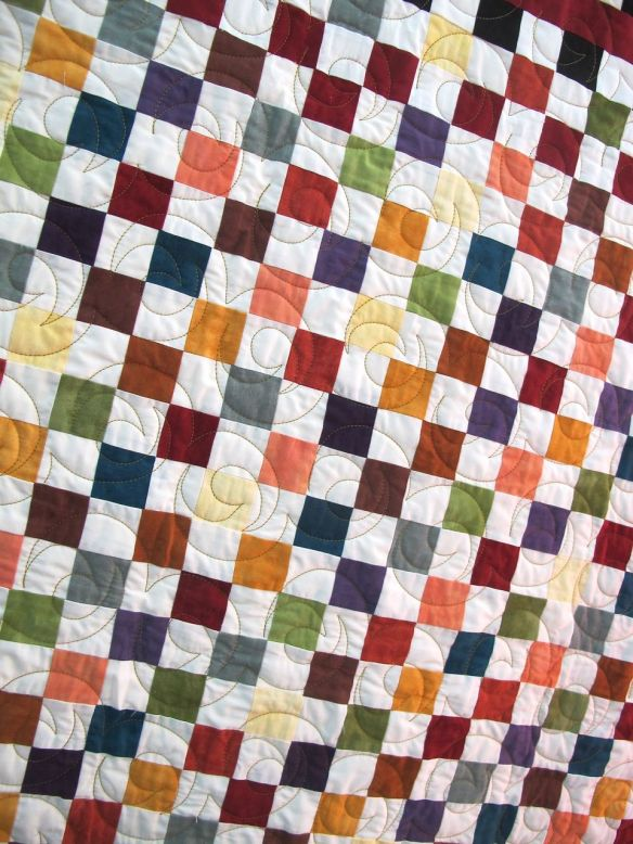 Color Play by Pati Fried, quilted by Kerry Reed.  Inspired by a pattern by Olde Green Cupboard Designs