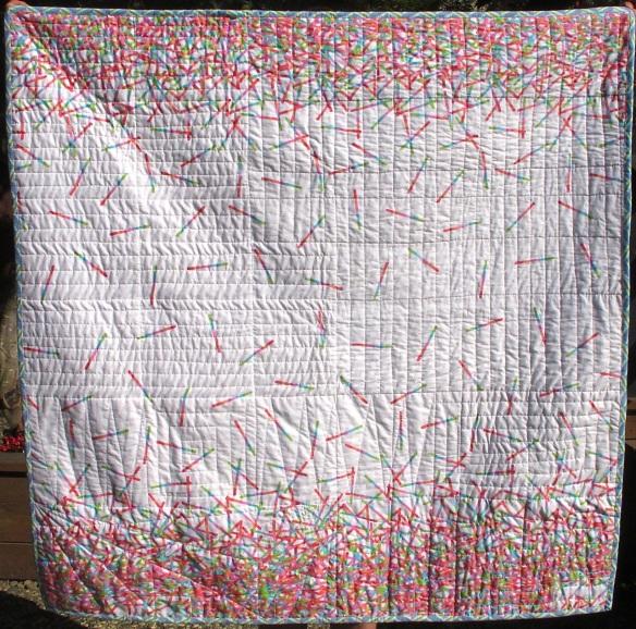 back of Pop Rox plaid baby quilt  by Carol Van Zandt