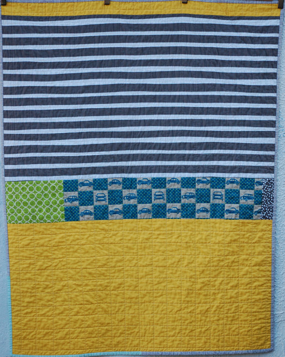 Retro Cars Stripe Quilt by Margaret Glendening