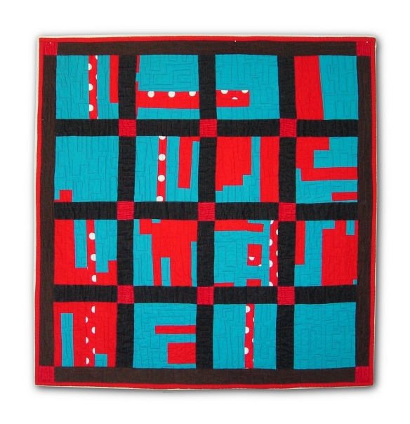 Red & Turqoise quilt by Stacey Sharman of Peppermint Pinwheels