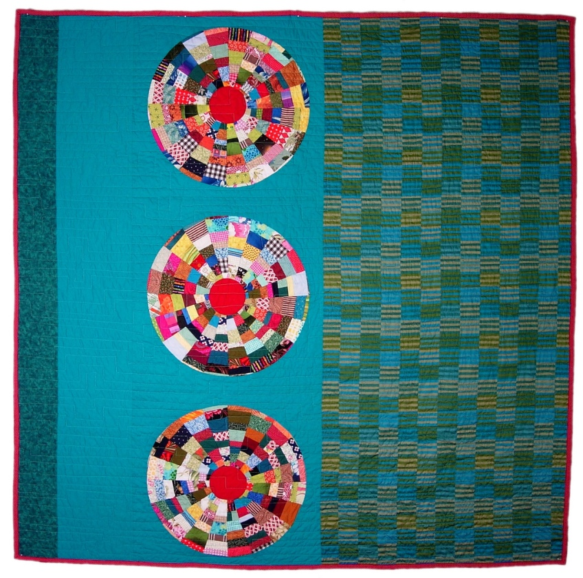 Turquoise Circles Quilt by Stacey Sharman of Peppermint Pinwheels
