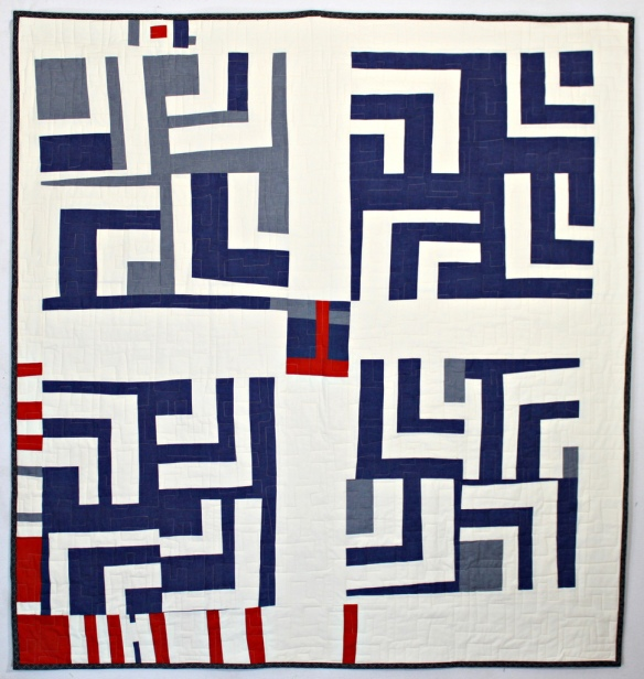 Blue and White Split Log Cabin Quilt by Stacey Sharman of Peppermint Pinwheels