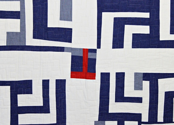Detail of Blue and White Split Log Cabin Quilt by Stacey Sharman of Peppermint Pinwheels