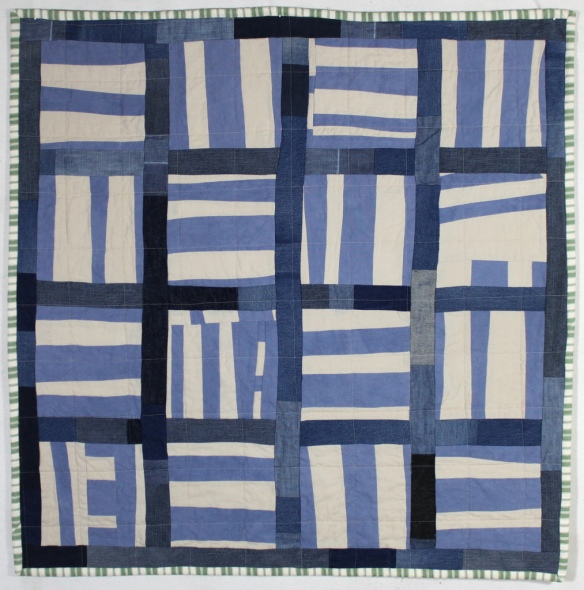 Linen and Denim Stripe Block Quilt by Stacey Sharman of Peppermint Pinwheels