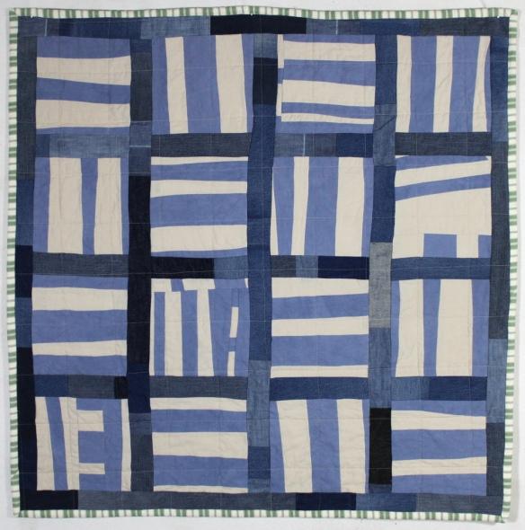 Linen and Denim Stripe Block Quilt by Stacey Sharman of Peppermint Pinwheels