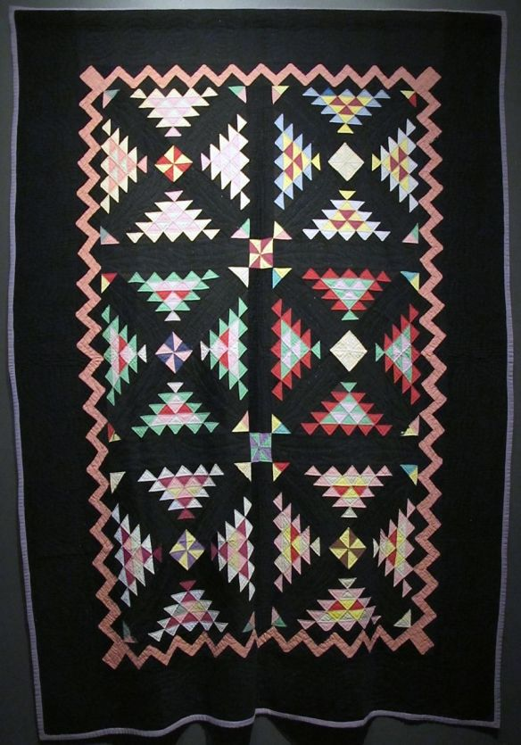 Railroad Crossing with Zig Zag Border, dated 1928. Made by Mrs. Albert V. Schlabach (Christina Yoder Schlabach) Benton, Ohio. Cotton.