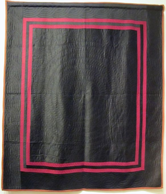 Plain Quilt with Double Inner Birder, dated March 4, 1915. Made by Katie M. Erb. Signed and dated. Holmes County. Cotton.