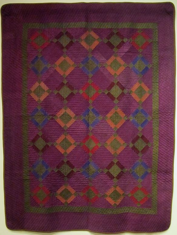 "Nine Patch Variation ""Winter Quilt"", 1884. Unknown maker. Initialed and dated in the quilting ""R.T. 1884"". Know County. Heavy Wool."