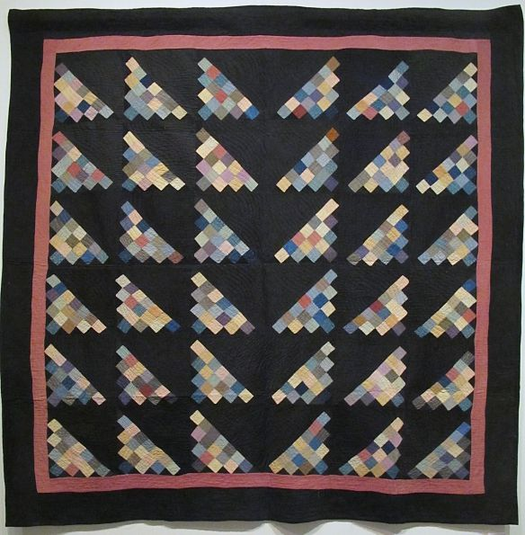 Diagonal 16-Patch, c. 1880-90. Unknown maker. Mt. Hope, Holmes County. Purchased at auction of Burkholder Family. Cotton.