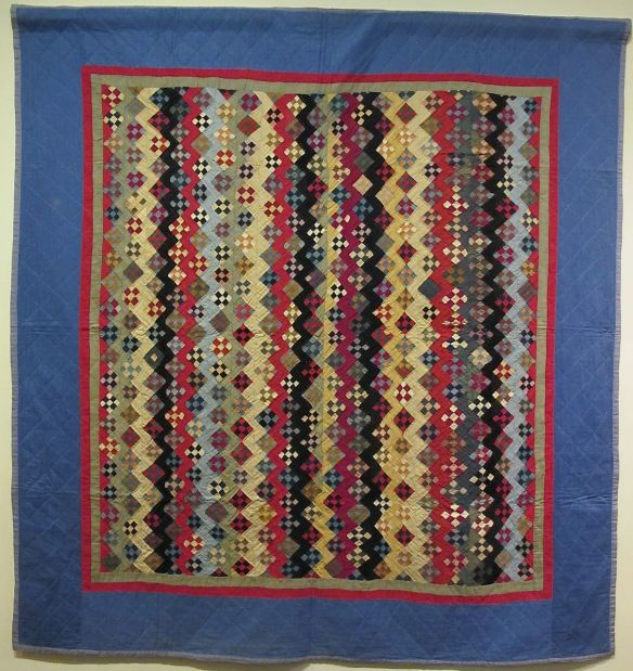 Zig Zag Nine Patch Variation, c. 1890-1930 (top made c. 1890, incorporated into the quilt, c. 1930). Unknown Maker. Geauga County. Cotton.