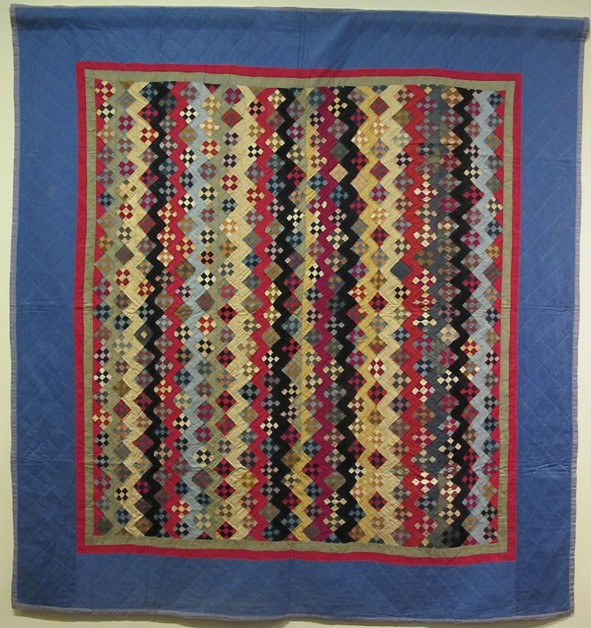 Zig Zag Nine Patch Variation, c. 1890-1930 (top made c. 1890, incorporated into the quilt, c. 1930). Unknown Maker. Geauga County. Cotton. From the Darwin D Bearley Collection