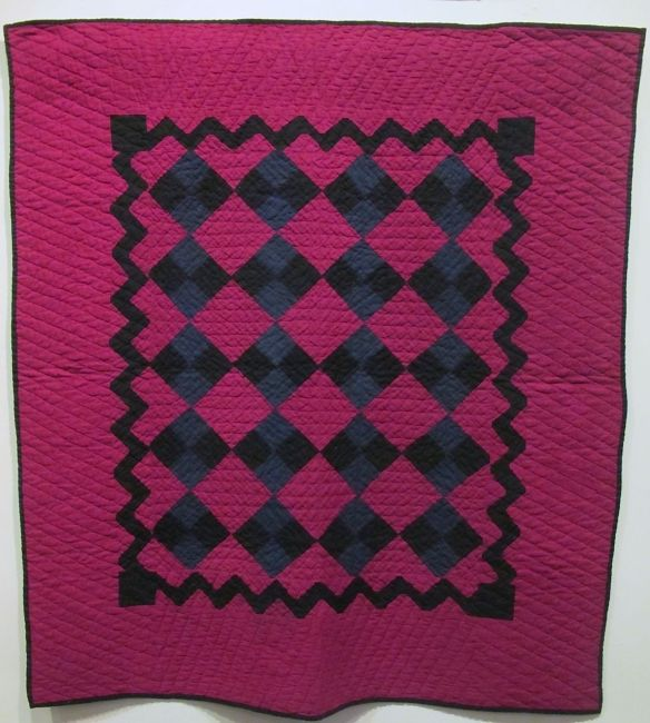Four Patch with Zig Zag Border, c. 1890-1910 Unknown maker. Cotton.