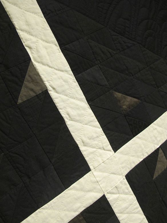 X by Stacey Sharman, 2014. Cotton, linen, wool, denim, and upholstery samples. Machine and hand quilted.