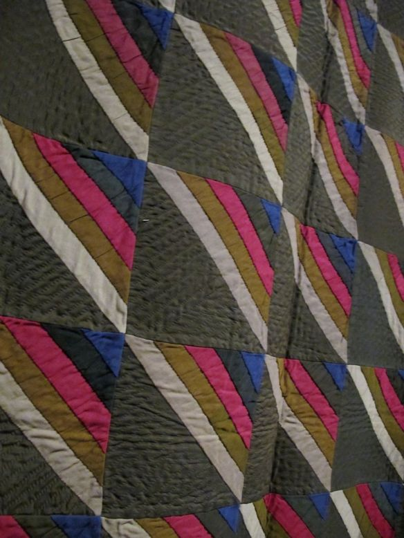 Roman Stripe, c. 1880-90. Made for Mose J. Yoder by his mother. Holmes County. Wool.