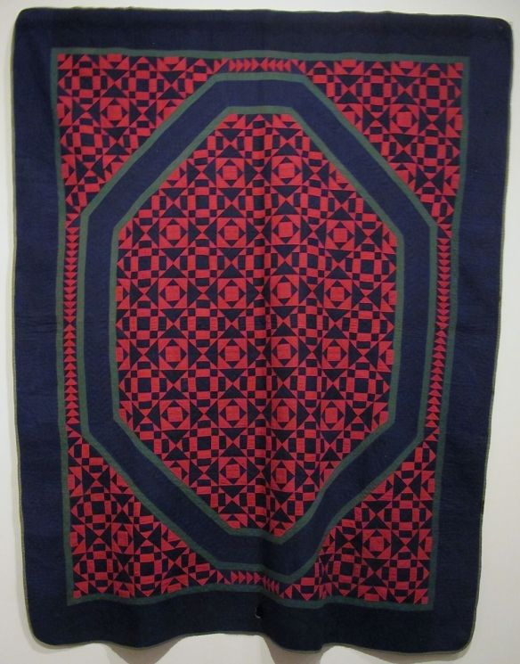 "Unnamed Pattern -- ""O"" Quilt, dated 1883. Initials JY SY JJY LCY JR ER. Holmes County. (First found in Plain City, Madison County)  Cotton."