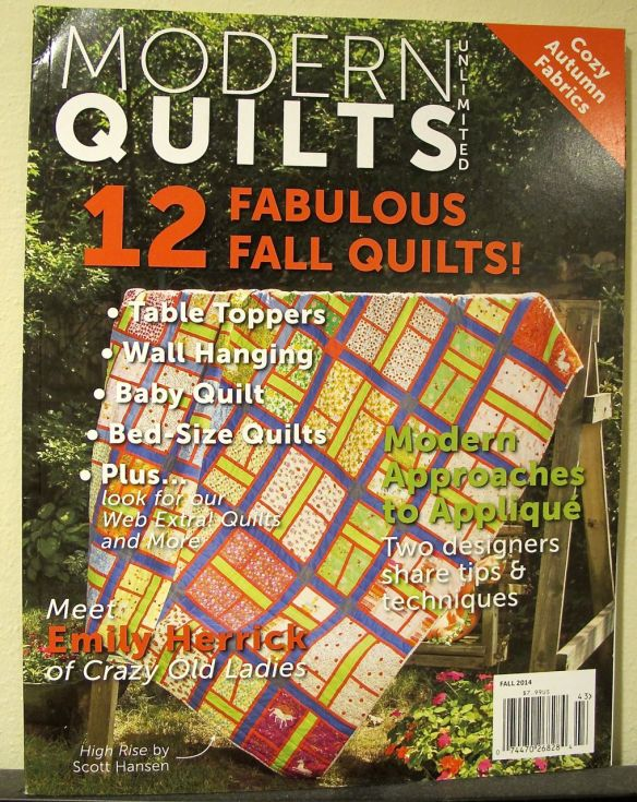 Modern Quilts Unlimited Fall 2014 with Pop Pendants quilt inside