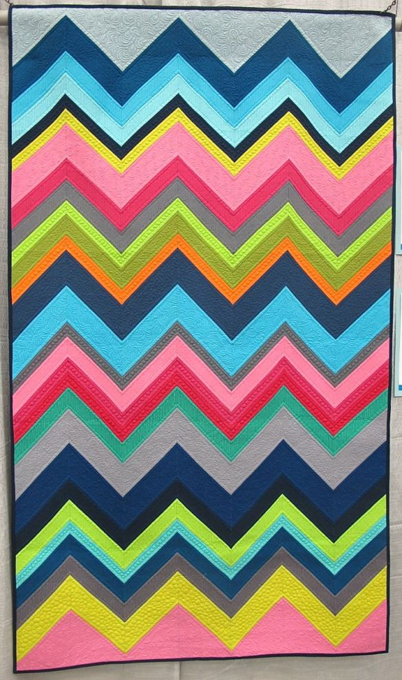 Modern Chevron Remix by Cynthia Whitten. Ladera Ranch, California. Quilted by Helen Baczynski.