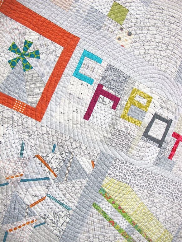 Playing with Little Bits by Rose Daley. Columbia Maryland. Pieced by Anna Levengood, Jill Safford, Jessica Skultety, Jessica Levitt, Robin Tillsworth, Rachel Singh, Elizabeth Timmons. 1st place, Group or Bee Quilts. QuiltCon 2015.