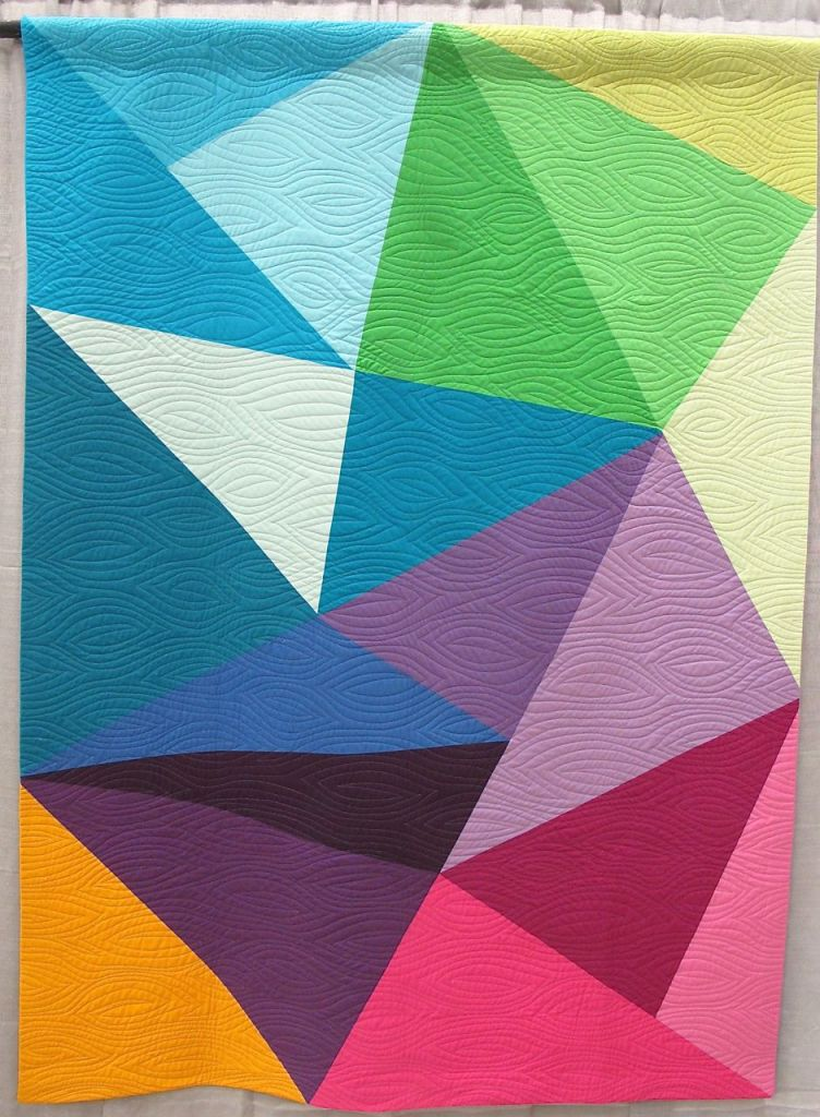 Fractured Triangles by Paula Leber. Merriam, Kansas. Quilted by Denise Pitts Best.