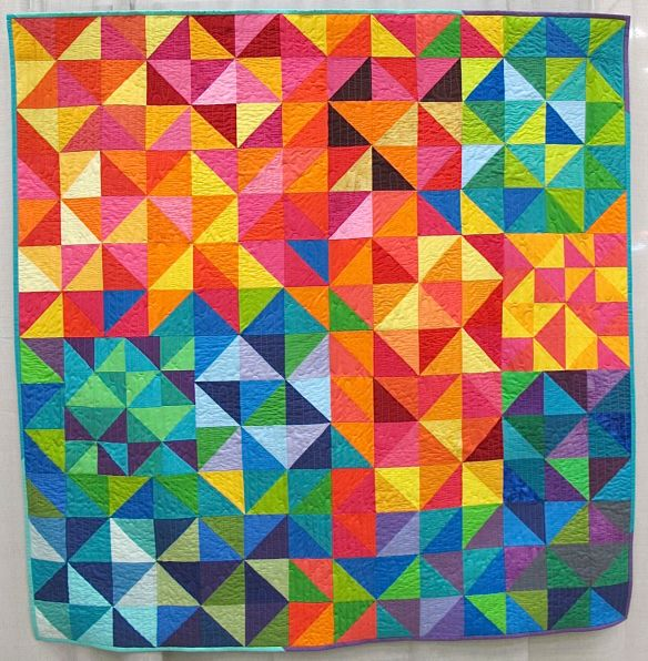 Pixelated Pinwheels. Lee, New Hampshire. Pieced by Sarah Thomas, Brandy Yingling, Amber Dawson, Wendi Hodgson, Wendy Robards, Gina Ferraro, Christina DiMarco. Quilted by Mary Gregory. Inspired by Postcards From Sweden by Kelly Liddle @jeliquilts