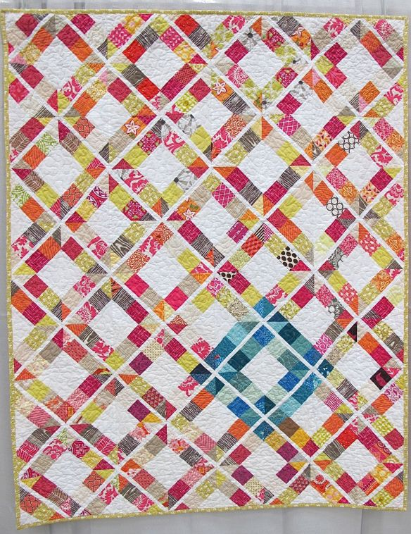 "Trellis Crossroads. Florence, Colorado. Pieced by Jessica Kerkhoff, Carla Fawcett, Elizabeth Adle, Claudia Pate, Mary Gibbons. Quilted by Sandra Smith, Vickey Hughes, Brittney Selby, Jaime Penrod, Tiffany Searle. Quilted by Sandra Smith, Vickey Highes, Brittney Selby, Jaime Penrod, Tiffany Searle, Collaboration quilt created by the Humility Circle of Do. Good. Stitches. Patterns from the book ""Modern Bee""."