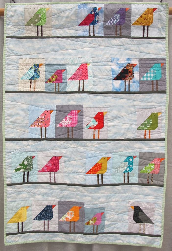 Birds on a Line. Austin, Texas. Pieced by Jeannette Day, Lindsey Rhoads, Leah Newman, Alison Robinson, Alex Duenkel, Tamara Hampton, Diane Stanley, Christine Horlbeck, Alexis Day. Quilted by Jeanette Day. Using McCalls Quilting bird block.
