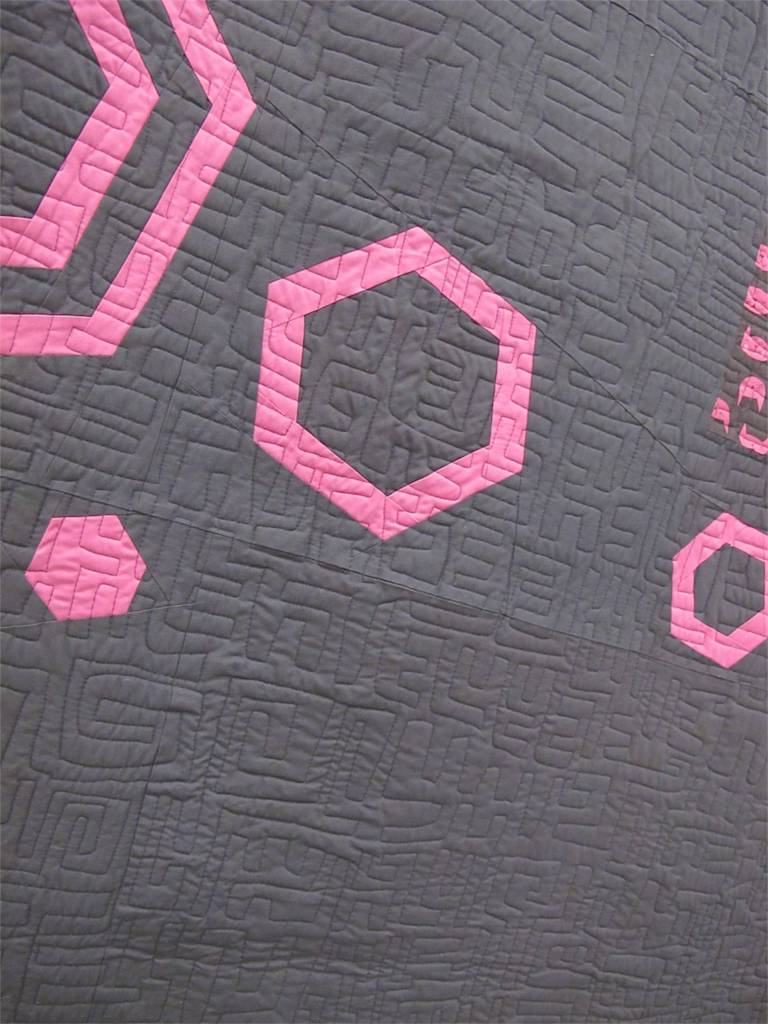 MQG 2014 Quilt of the Month: May. Improv Echoed Hexagons by Rossie Hutchinson.