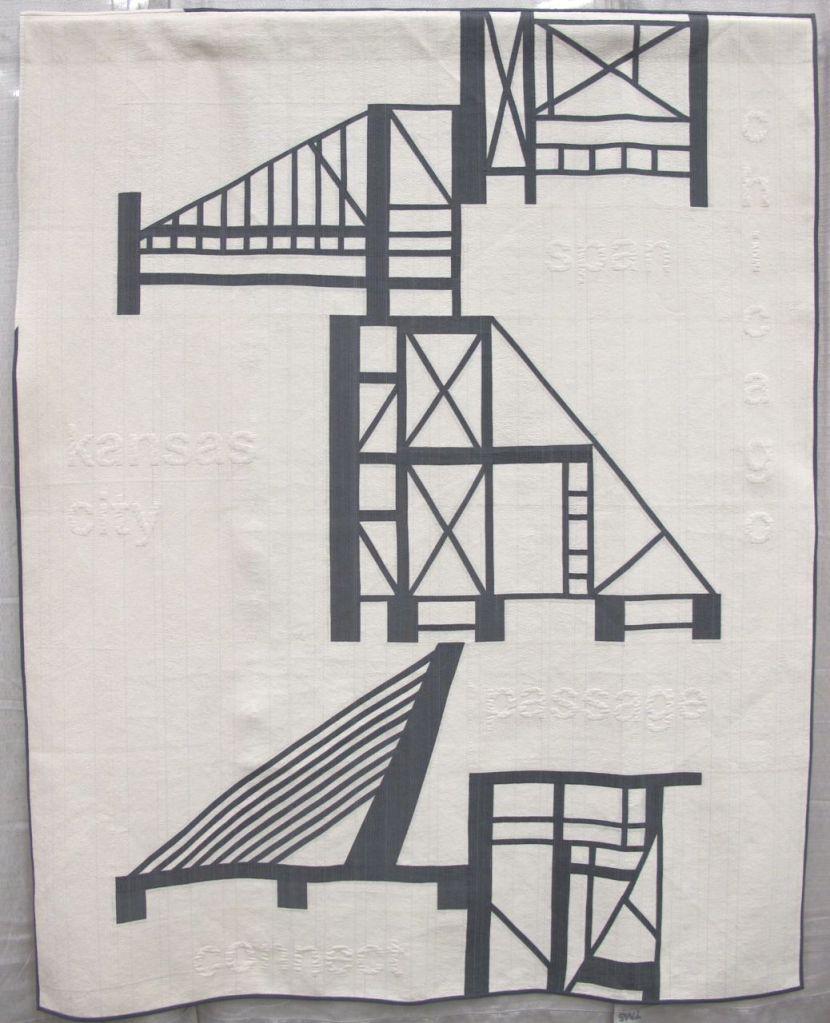 Building Bridges by Jacquie Gering of Tallgrass Prairie Studio. Kansas City, Missouri. Quilted by Sheryl Schleicher.