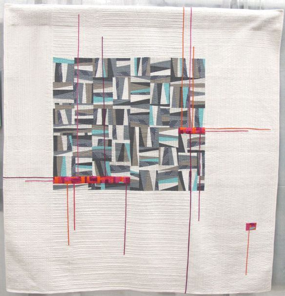 Read Between the Lines by Stephanie Ruyle. Denver Colorado. 3rd Place, Use of Negative Space category, QuiltCon 2015.