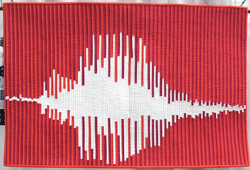 What's the Frequency, Love? by Sheri Cifaldi-Morrill. Woodbridge, Connecticut. 1st Place, Small Quilt category, QuiltCon 2015.