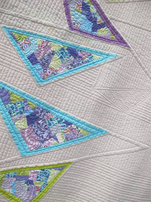 Diving Geese, designed and pieced by Katie Pederson, quilted by Krista Withers. Seattle, Washington. Best Machine Quilting award, sponsored by Interweave. QuiltCon 2015.