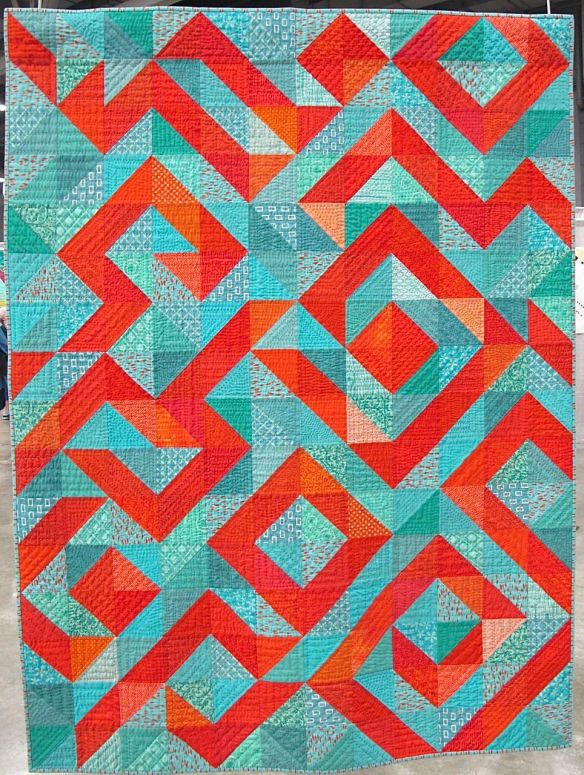 Coral Reef by Marla Varner, Sequim, Washington. Improvisational hand quilting. Quilting Excellence Award, sponsored by Make it Coats, QuiltCon 2015.