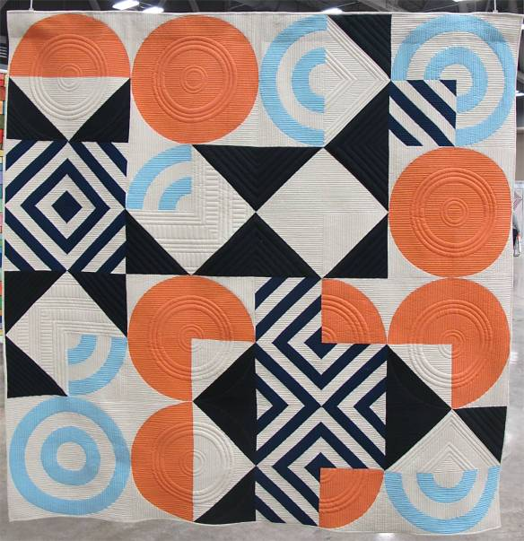 Eames Blocks designed by Lorena Maranon, pieced by Jen Carlton Bailly, quilted by Gina Pina. Winning design for the Modern Quilt Guild Giveaway Quilt Design Challenge.