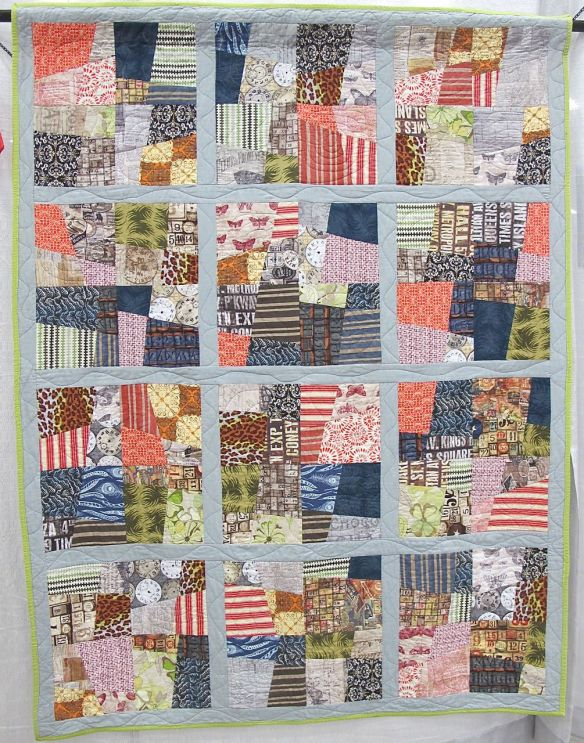 The Overgrown City by Cadence Jenkins, Ovilla, Texas. 2nd quilt she ever made, original design, quilted with her aunt's long arm.