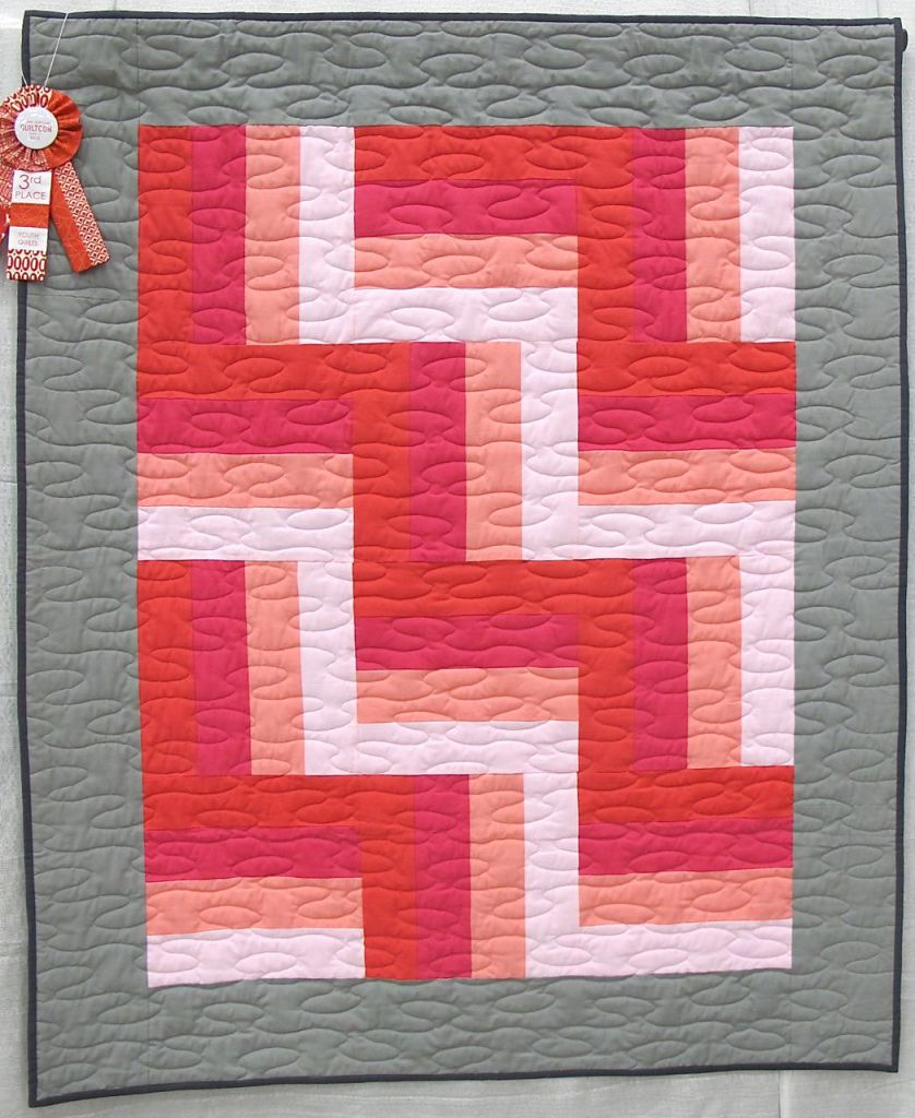 Rothko's Dream by Evie Guigley, Hernando Mississippi. Mom helped cut the rotary strips. Original design, 1st time using a long arm with instruction from Mrs. Teresa Pino, Quilts2aT Studio. 2rd Place, Youth Quilts, QuiltCon 2015.