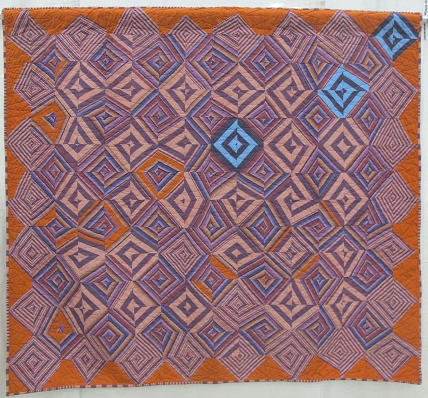 "Grapeshot by Maggie Johnson. Tulsa, Oklahoma. Quilted by Ann Olson. Inspired by Kaffe Fassett's ""Cutting Corners Quilt"""
