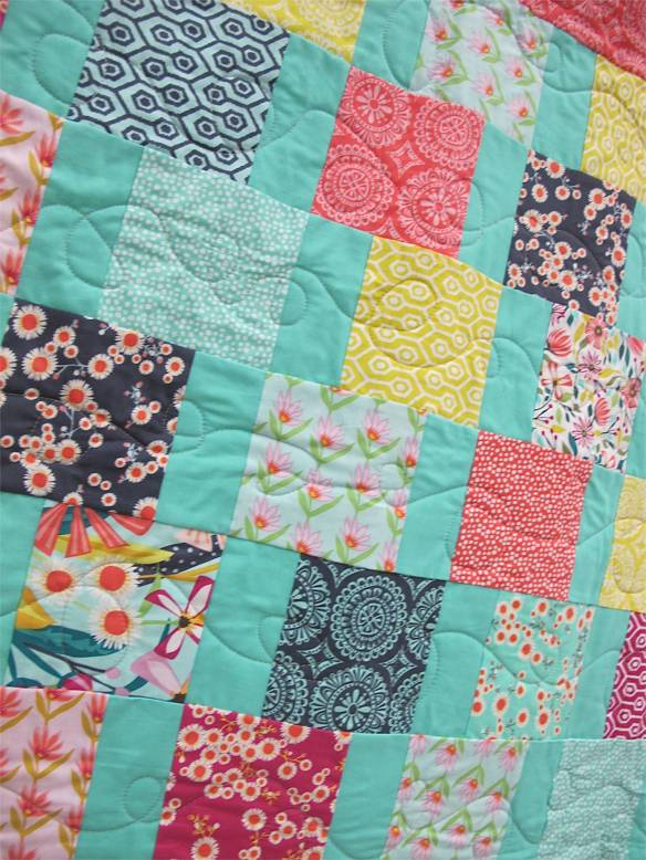 Side Step by Kate Ivie. Austin, Texas.Original design at age 10. Quilted by Kate on a long arm at The Cotton Cupboard in Lakeway, Texas.