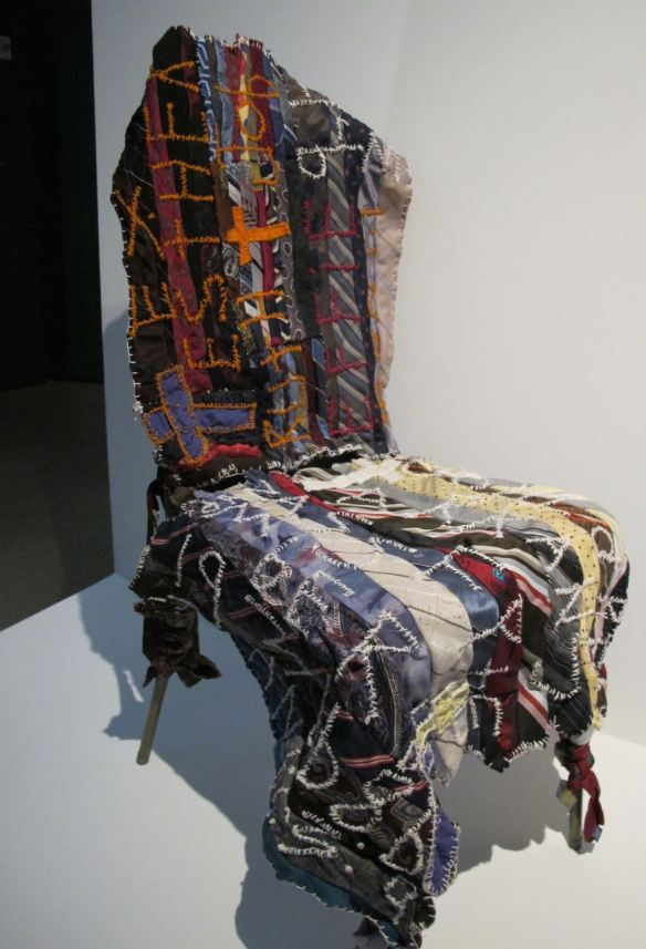 Chair with Embroidery and Applique. Pieced by Rosie Lee Tompkins. Collection of Eli Leon.
