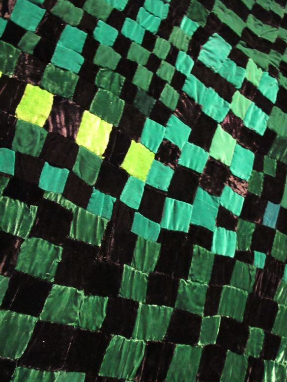 Detail of Checker Board Green and Black. Rosie Lee Tompkins, piecer.Irene Bankhead, quilter. Collection of Eli Leon