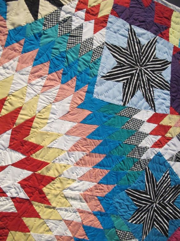 Detail of Texas Star. Mattie Pickett, piecer, Willia Ette Graham, quilter. Collection of Eli Leon.