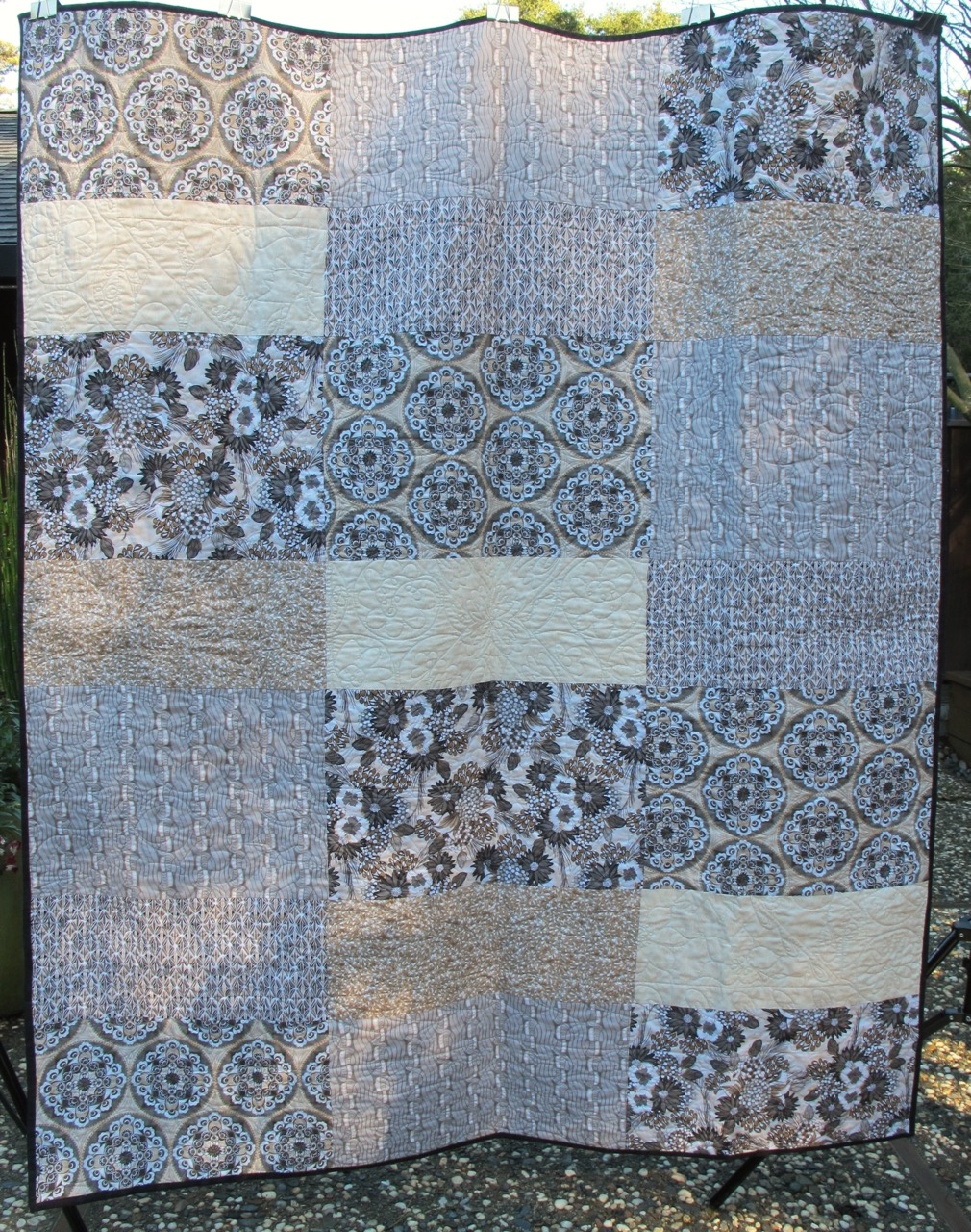 back of Bel Air Quilt for Lauren by Carol Van Zandt, quilted by Alethea Ballard @maverickquilts