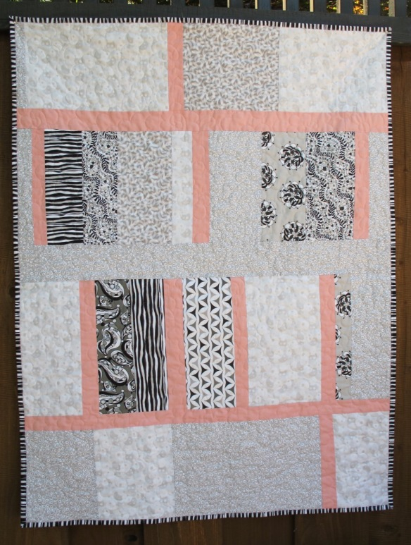 back of Baby Quilt for Penelope Clara by Carol Van Zandt, quilted by Terri Carpenter of thequiltedfox.com