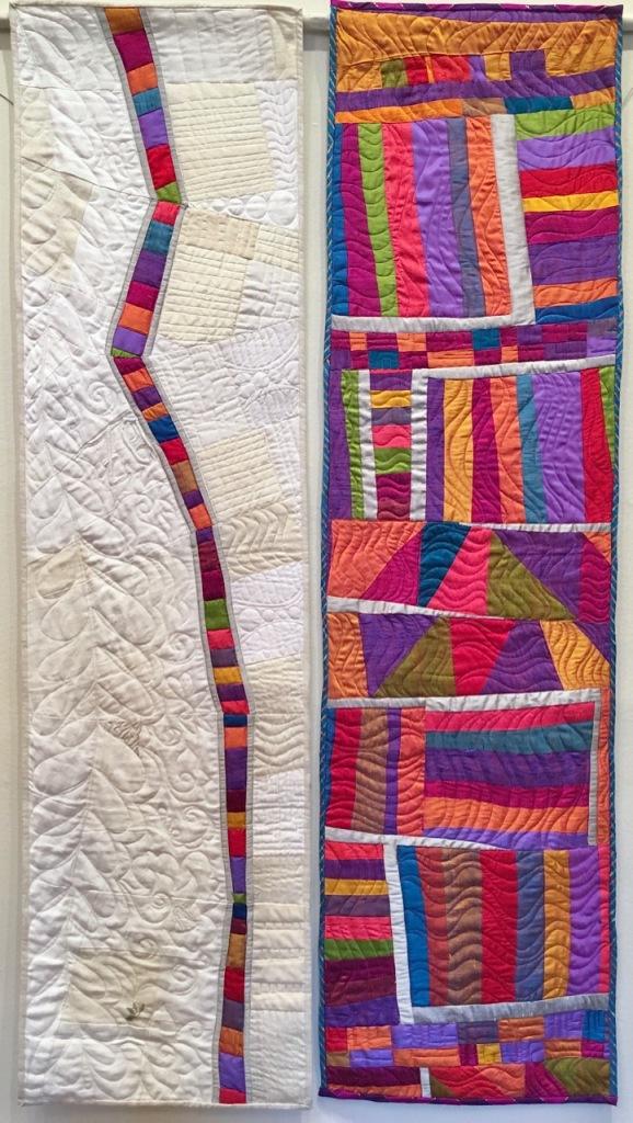 Memory Lane (diptych) by Carol Van Zandt, quilted by Alethea Ballard