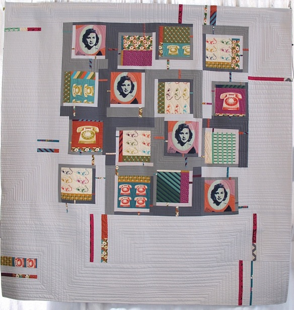"""Thoroughly Mondrian Millie"" by Leslie Tucker Jenison, quilted by Danielle Wilke"