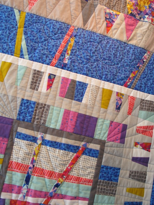 Microcosm, round robin quilt pieced by Carol Van Zandt, Kim Buteau, Fern Royce, Kristen Hosemann, Terri Carpenter; quilted by Terri Carpenter
